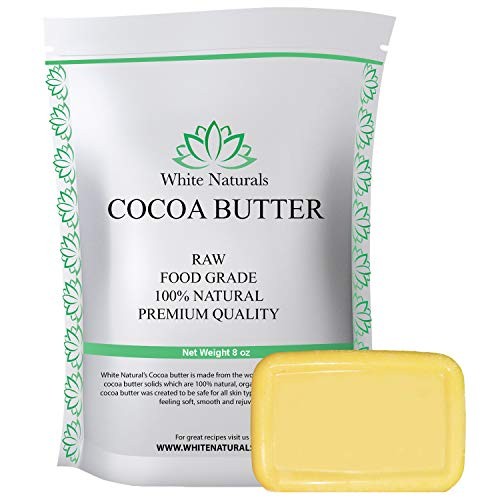 Cocoa Butter 8 oz,Unrefined, Raw, 100% Pure, Natural - For DIY Recipes, Body Butters, Soap Making, Lotion, Shampoo, Lip Balm By White Naturals
