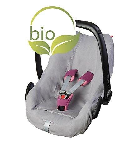 ByBoom - Sommerbezug, Schonbezug für Babyschale aus 100% BIO-Baumwolle, Universal für z.B. Maxi-Cosi, CabrioFix, Pebble, City SPS, Farbe:Grau