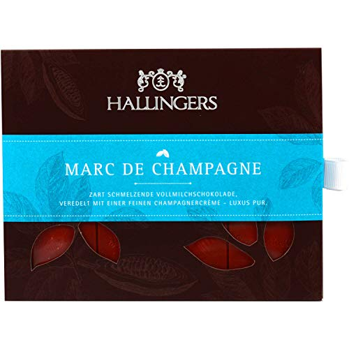 Hallingers Vollmilch-Schokolade mit Marc de Champagne hand-geschöpft (90g) - Marc de Champagne (Tafel-Karton) - zu Passt immer Für Sie