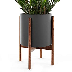 "Silk Flower Arrangements OMYSA Mid Century Plant Stand with Pot Included (10"") - Black Ceramic Planter with Stand - Large Indoor Planter Pot for Plants, Trees & Flowers - 6 Colors (White, Black, Peach, Blush, Sage, Cream)"