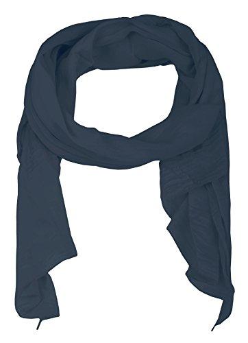 Zwillingsherz Seiden-Tuch für Damen Mädchen Uni Elegantes Accessoire/Baumwolle/Seiden-Schal/Halstuch/Schulter-Tuch oder Umschlagstuch einsetzbar - navy