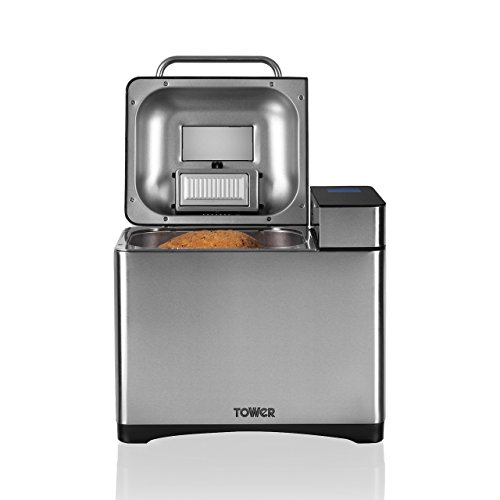 Tower Digital Bread Maker, 17 Preset Functions Including Gluten Free and Sourdough Options, Delay Timer and Keep Warm Settings, Automatic Fruit and Nut Dispenser, 1 Litre, Stainless Steel