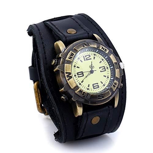 ZFYM Montre Vintage Bracelet en Cuir pour Homme Cadran Rond Bracelet en Cuir Bracelet Arabe numérique analogique Quartz,A