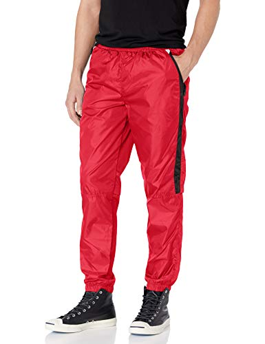 Southpole Men's Colorblock Athletic Wind Pants, red, X-Large