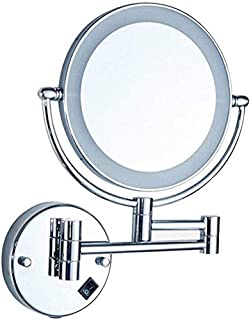 LED Makeup Vanity Mirror, 3X Magnification Bathroom Mirror Two-Sided Wall Mounted Beauty Mirror 360° Swivel Extendable Cosmetic Mirror,Silver_Hardwired Connection, Bathroom