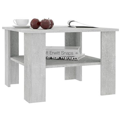 Festnight Tavolino da Salotto | Tavolino da caffè | Tavoli da Divano per Soggiorno Grigio Cemento 60x60x42 cm in Truciolato