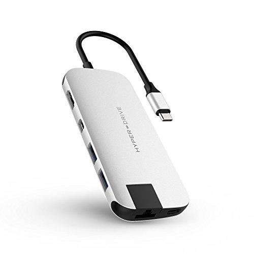 Hyper hd247b - hub Delgado para macbook y Dispositivos USB-c Plata.