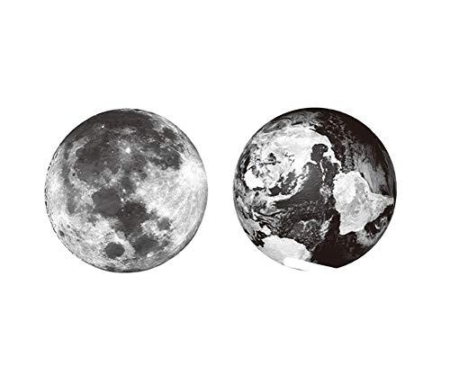 4 feuilles d'art de corps de tatouage provisoire de terre et de lune d'autocollants pour la partie de costume de Cosplay