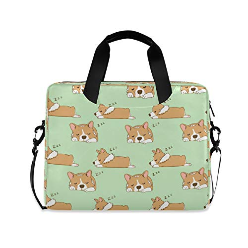 YKMUSTwin Animal Dog Corgi Cute 13-15.6 Inch Laptop Shoulder Messenger Bag Laptop Case Sleeve with Strap Computer Briefcase for Women Men Boy Girls