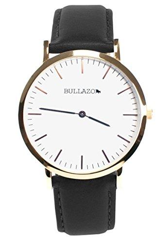 BULLAZO Sencillo, Edle Herrenuhr Damenuhr mit klassischem Ziffernblatt, Quarz-Uhrwerk, Lederarmband, Schwarz Rose Gold