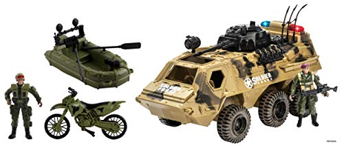 Memtes Military Fighter Army Truck Tank Toy, Mini Motorcycle, Mini Raft Boat with 2 Mini Army Soldier with Lights and Sound