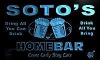ネオンプレート サイン 電飾 看板 バー p1268-b Soto's Home Bar Beer Family Last Name Neon Light Sign