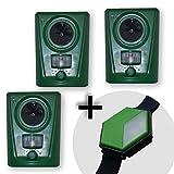 ISOTRONIC Tierabwehrgerät Ultraschall Tiervertreiber – 3er Set – Batteriebetrieb –
