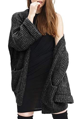 trueprodigy Casual Damen Marken Cardigan einfarbig Basic, Oberteil cool und stylisch mit Grobstrick (Langarm & Slim Fit), Cardigan für...