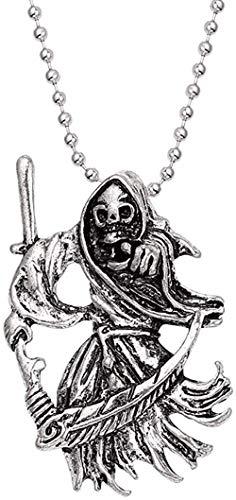 LKLFC Collar Mujer Collar Hombre Collar Joyería gótica Retro Punk Esqueleto Charm Colgante Collar The Sickle Reaper Collares para Hombres Joyería de Calavera gótica Collar Colgante Niñas Niños Regalo