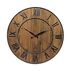 Infinity Instruments Wine Barrel Decorative Wall Clock, Dark Wood
