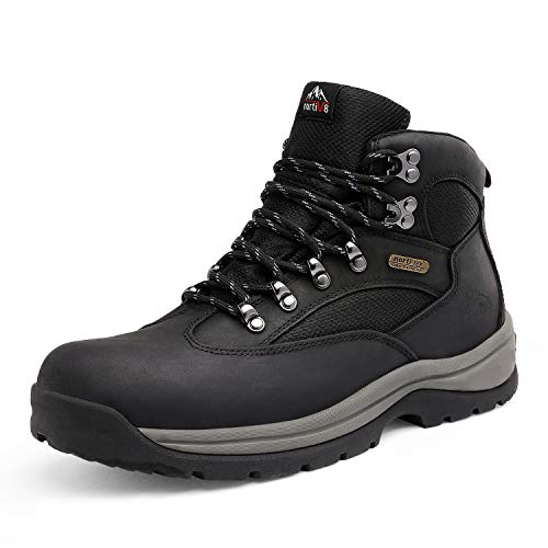 NORTIV 8 Men's Waterproof Hiking Boots Mid Ankle Leather Hiker Work Boots Black Size 10.5 M US Rockfor