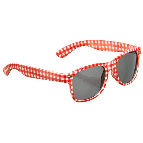 NET TOYS Oktoberfest-Brille Karierte Sonnenbrille rot-weiß Schlagerbrille Karomuster Schlagermove Spaßbrille Funbrille Volksmusik bayerisch Junggesellenabschied Accessoire