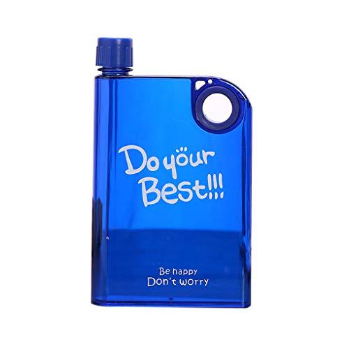 rongweiwang 380ml Flachwasserflasche A5 Wasserflasche Memo Notebook Kunststoff Transparent Leak Proof Sport Reisen Wasserflasche