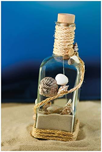 Wallario Glasbild Flaschenpost vom Meer - 60 x 90 cm in Premium-Qualität: Brillante Farben, freischwebende Optik