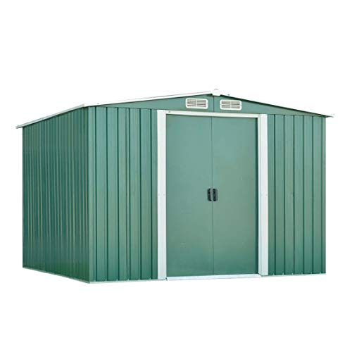 Galvanized Steel Backyard Warehouse With Base 8ftx6ft Garden Storage Shed Outdoor Patio Tool Room Oblique Top Garden House
