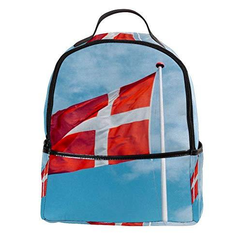 TIZORAX Laptop-Rucksack mit dänischer Flagge, lässiger Schultertasche, Tagesrucksack für Studenten, Schultasche, Handtasche – leicht