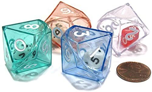 Set of 4 D10 26mm Double Dice, 2-In-1 Dice - 1 Each of Grün rot Blau Clear by Koplow Games