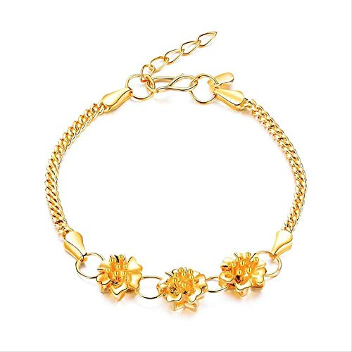 Pulseras de brazaletes de Flores de Color Dorado Flor de cerezo para Mujeres Regalos de Niñas