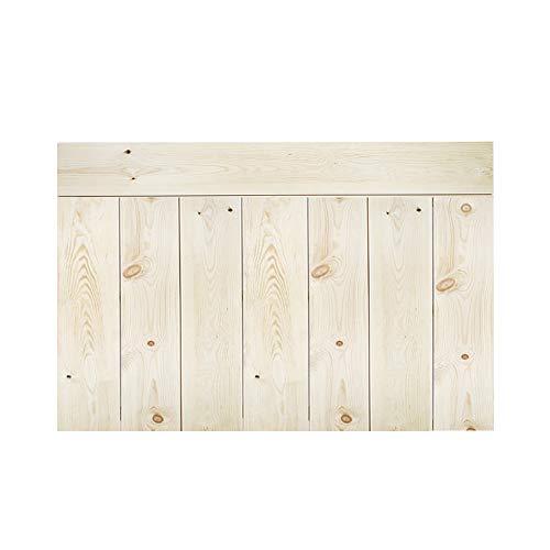 Decowood - Cabecero para Cama Dormitorio, Crooked Forest con Lamas Combinadas, Madera de Pino Natural - 140 x 80 cm