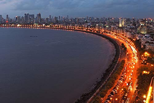 Marine Drive Queens Necklace in Mumbai at Night India Asia - Landscape City Poster Print Wall Decor - 22 by 14 inches
