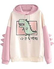 Cartoon Monster Dam Hoodie Flicka Söt Dinosaur Långärmad Tröjor Japansk Kawaii Flerfärgad tröja