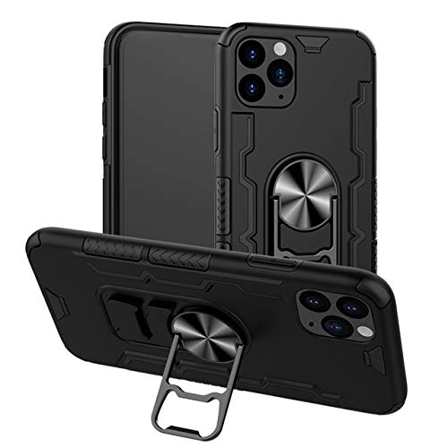 XLSJK Funda para Teléfono Luxury Shockproof Armor Metal Ring Holder Phone Case For iPhone 6 6S 7 8 Plus X XS 11 Pro MAX XR Back Cover Soft Silicone Case For iPhone 11 Black