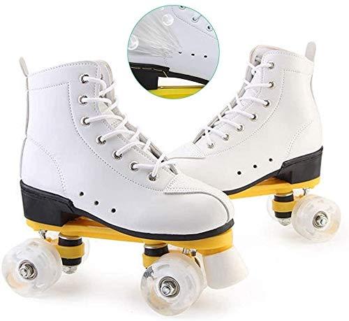 LCFF Rollschuhe Inliner Sports Roller Skates Quad Rollerskates 4 Räder Eisschnelllauf Schuhe Anfänger for Mann und Frau, Unisex Erwachsene (Color : White, Size : 39)