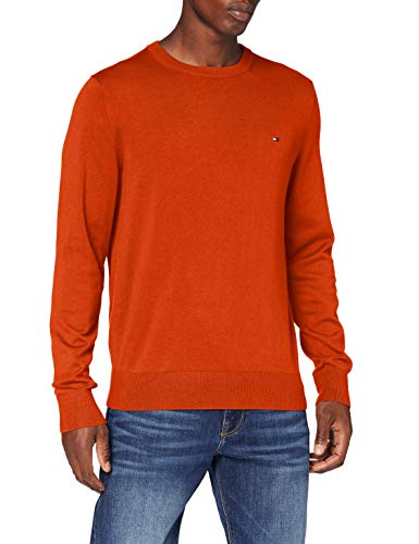 Tommy Hilfiger Organic Cotton Blend Crew Neck Maglione, Tucson Orange Heather, S Uomo
