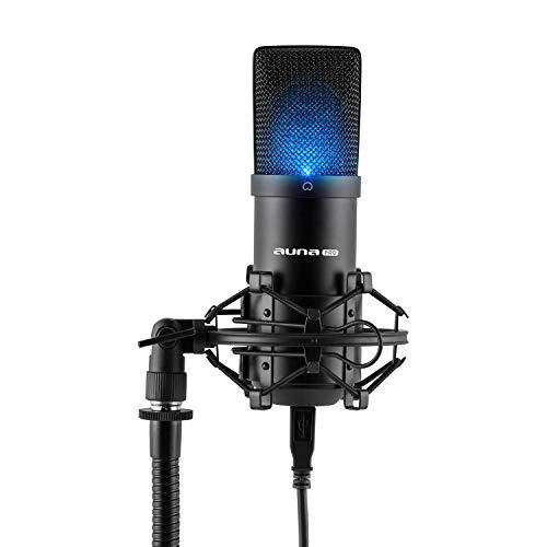 auna MIC-900B LED - Micrófono Condensador USB, Patrón Polar cardioide, Carcasa metálica, 30Hz-18kHz, Cápsula Electret 16 mm, Plug & Play, Araña con Adaptador 3/8' a 5/8', USB, Funda, Negro