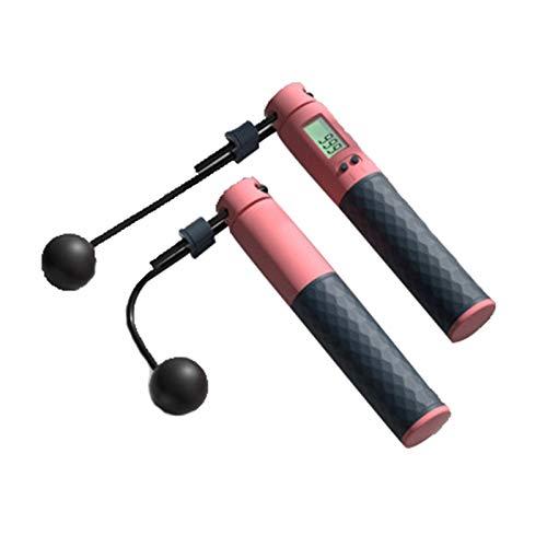 Solkping de la cuerda - Ropas de salto electrónico Velocidad de salto inalámbrico de la cuerda Mango antideslizante para el entrenamiento de salto de entrenamiento Cable ajustable 3m ( Color : Pink )