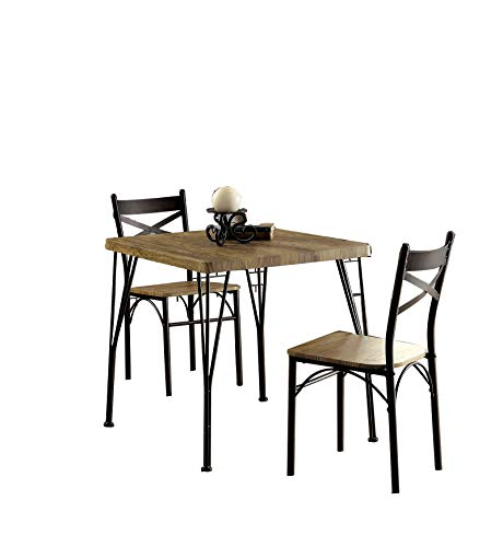Benzara Industrial Style 3 Piece Dining Table Set of Wood and Metal, Brown and Black
