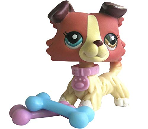 Hot Toy LPS Collie Red Dog Different Eyes Puppy 1262 with Accessories Collection Toys Figure Rare Girls Boys Gift 1 PC