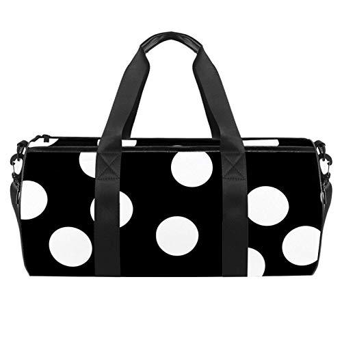 Dragon Sword Moderen White Black Polka Dot Designed Fashion Travel Duffel Bag Luggage Handbag Gym Sports Tote Bags for Man Women with Wet Pocket