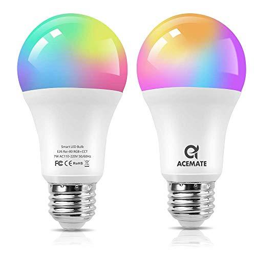 ACEMATE Bombilla inteligente LED WiFi Regulable Multicolor Lámpara(no se requiere hub),E26(E27),7W=75W,Luz Cálida/Fría & RGB, A60, compatible con Alexa,Siri,Echo,Google Home Control (2 PCS)