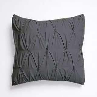 Urban Bedding Zipper Pintuck 2 Piece Pillow Decorative Throw Cushion Cover Sham Case 100% Cotton Sateen Euro 26 inch x 26 inch, Dark Gray