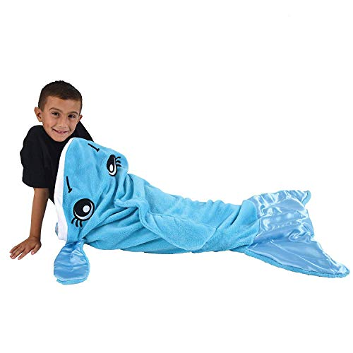 Snuggie Tails Dolphin Blanket- Comfy, Cozy, Super Soft, Warm, All Season, Wearable Blanket for Kids, As Seen on TV