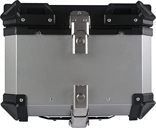 Refit Top Case, Universal 45L Motorrad Aluminium Top Case Heckkastengepäck(Silber)