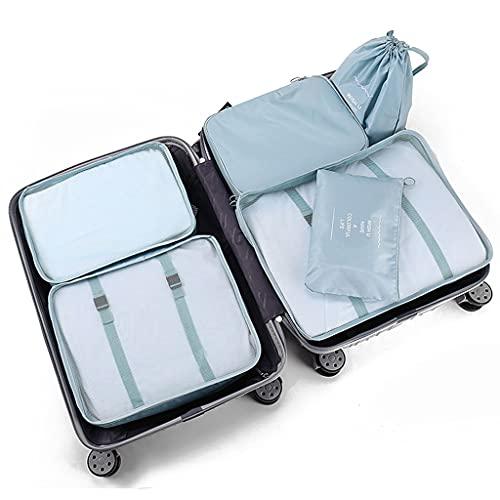 YBYWL Cubi da Imballaggio, Set Organizer per Bagagli da Viaggio, Valigia con Sacca di Compressione, Custodia per La casa Borsa per Bagagli Pieghevole, Organizzatore di Viaggi(Color:Azzurro)