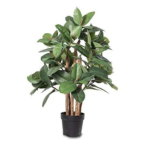 Kunstpflanze NOAH Gummibaum 90, Kunstbaum mit Echtholz-Stämmen