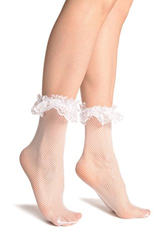 LissKiss White Fishnet With Lace Ruffles Ankle High Socks - Weiß Socken Einheitsgroesse (37-42)