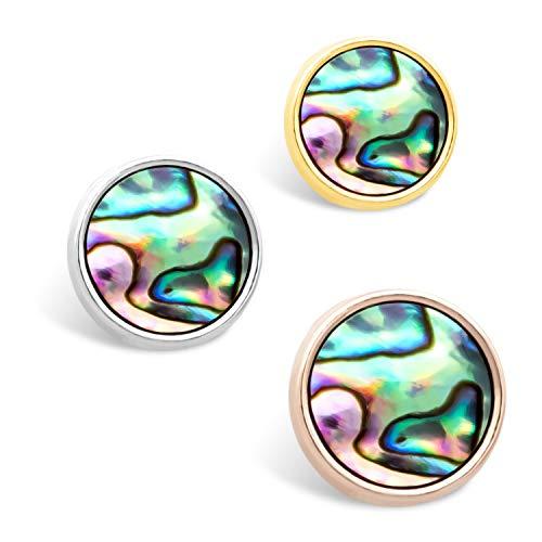 THIORA® - 'Abalone/Paua Muschel' Anhänger | Abalone Shell Charm | Mesh Armband | Charmband Charms (Rosegold)