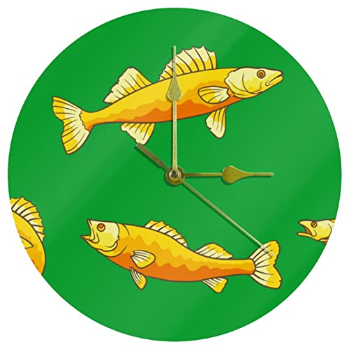 Yoliveya Reloj de pared redondo con diseño de peces silenciosos con fondo verde, para regalo, para casa, oficina, cocina, guardería, sala de estar, dormitorio, 25 cm