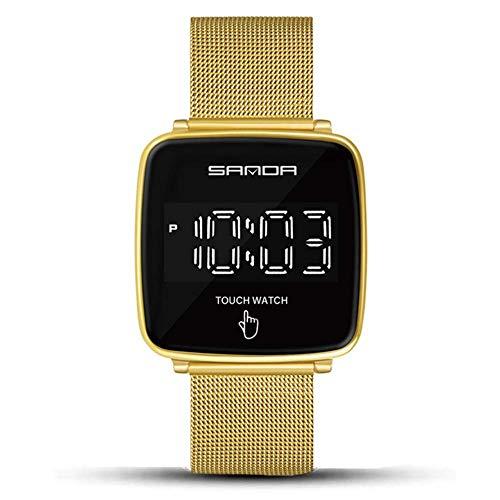 Relojes pantalla táctil for hombres Relojes Digitales 30 metros de impermeable del cronógrafo de pulsera inoxidable de negocios masculino reloj creativo de la personalidad del reloj, Oro fengong