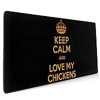 40*90CM超大型 マウスパッド I Love My Chickens 光学式 ゲーミング ゲーム向け 防水 滑り止め 耐洗い表面 キーボード オフィス テーブル デスクマット